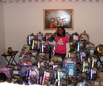 Taylor Rutledge and the backpacks she made for children who found themselves displaced after Hurricane Katrina.