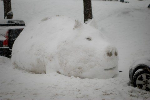 car-buried-under-snowman-pig-by-gcbb