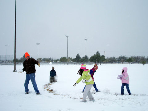 Snowball fight!... The perfect winter afternoon of family fun in the snow!