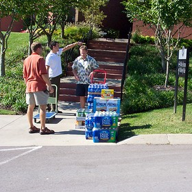 Canned food items and bottled water donated at Bellevue Community Church.