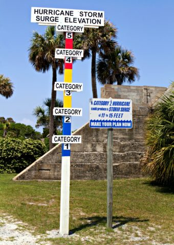 hurricane storm surge elevation sign