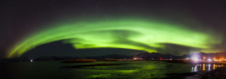 The night sky filled with light - Aurora Borealis.