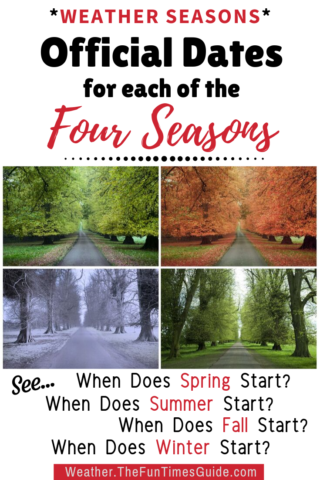 Official dates for each of the four seasons - plus significant weather changes you should know about.