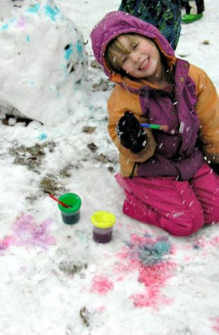 Coloring the snow - painting snow and a snowman.