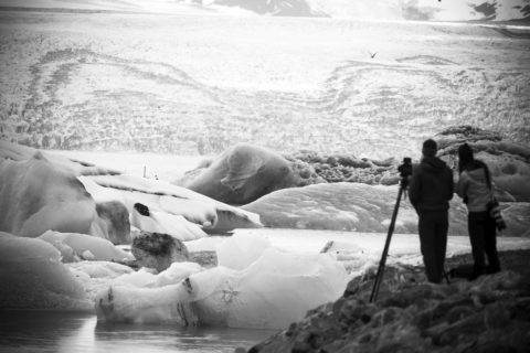 Global warming causes the ice to melt in Greenland.