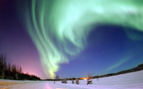 Aurora Borealis Northern Lights in the winter