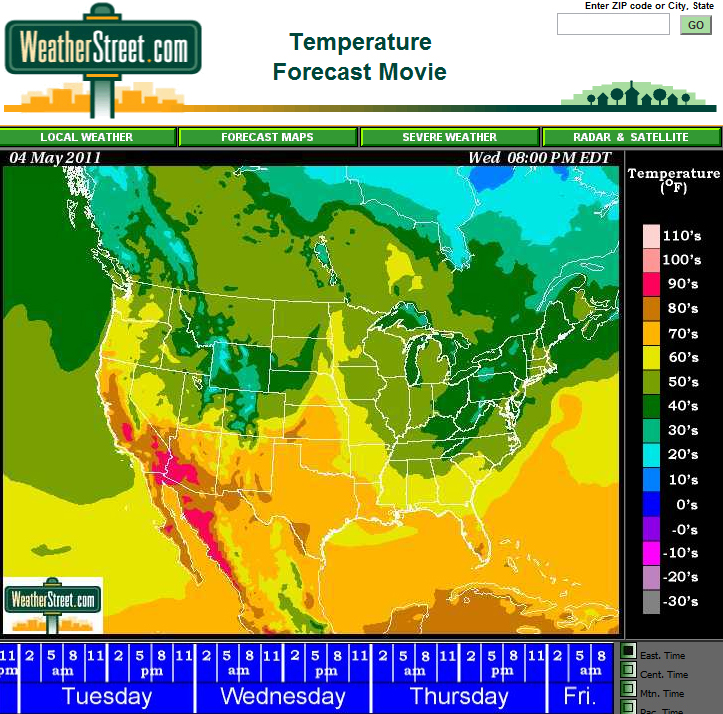 Weather Street View The 3Day Temperature Forecast All Across The